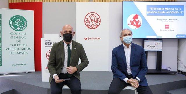 El rector de la UCM, Joaquín Goyache Goñi, y el consejero de Sanidad de la Comunidad de Madrid, Enrique Ruiz Escudero