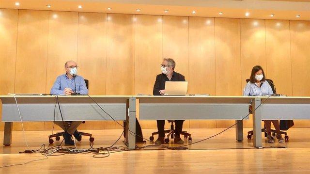 El director general de Salud Pública, Rafael Cofiño, en rueda de prensa junto al jefe de alertas y emergencias sanitarias COVID, Miguel Prieto, y la coordinadora de Programas Covid, María José Villanueva.