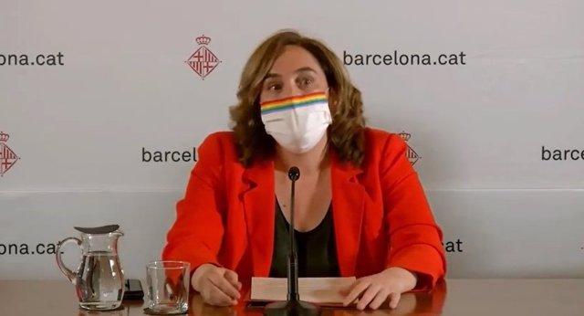 L'alcaldessa Ada Colau, en la conferència de premsa