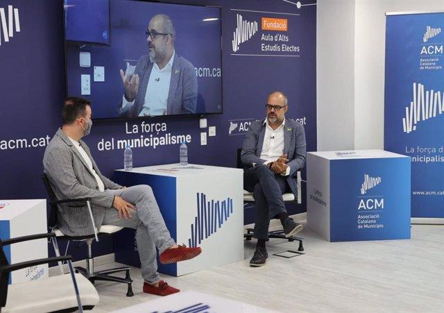 El president de l'ACM, Lluís Soler, i el d'Infraestructures de la Generalitat, Miquel Buch