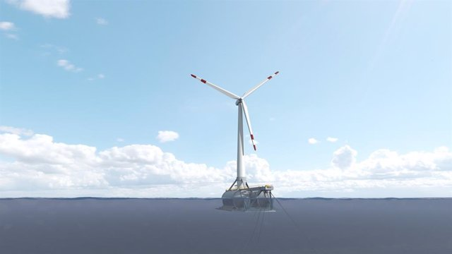 Archivo - Prototipo DemoSAH de aerogenerador eólico marino flotante