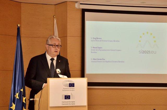 Conferencia del embajador de Eslovenia en España, Robert Krmelj, en un acto sobre las prioridades de la UE de la Oficina del Parlamento Europeo en Barcelona.