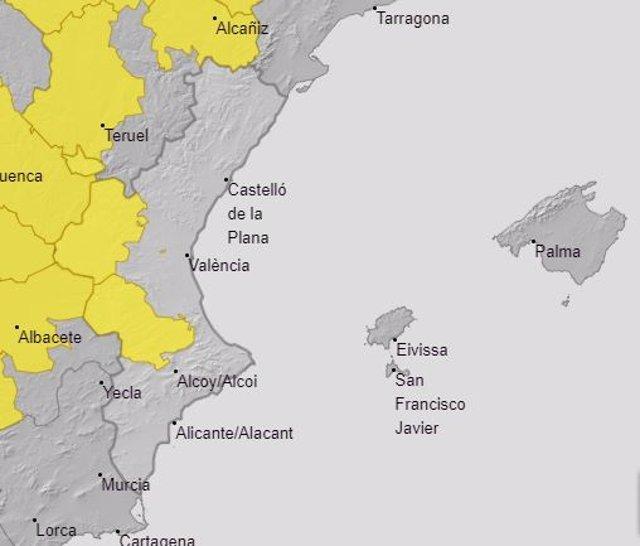 Avisos por calor activos en la Comunitat Valenciana