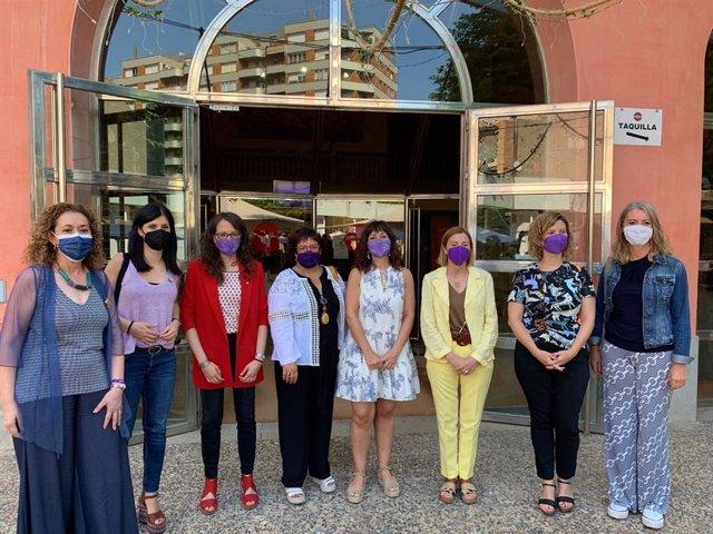 Miembras d'ERC abans de participar en l'Assamblea Nacional de Dons del partit a Tàrrega (Lleida).