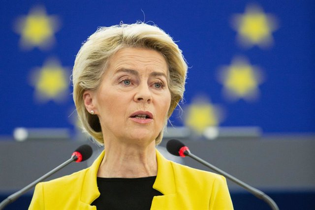 HANDOUT - 07 July 2021, France, Strasbourg: President of the European Commission Ursula von der Leyen delivers a speech during a plenary session of the European Parliament on the conclusions of the European Council meeting of 24-25 June 2021. Photo: Mathi