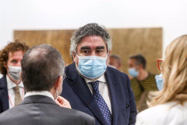 El ministro de Cultura y Deporte, José Manuel Rodríguez Uribes, durante la inauguración de la feria de arte contemporáneo ARCO