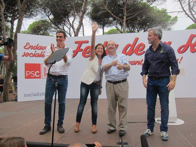 Archivo - Arxiu - Pedro Sánchez (PSOE) Raquel Sánchez,Miquel Iceta,Jaume Collboni (PSC)