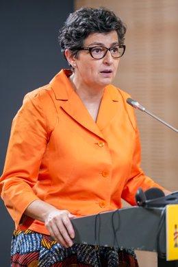La ministra de Asuntos Exteriores, Unión Europea y Cooperación, Arancha González Laya, durante una rueda de prensa junto a su homólogo francés, en el Palacio de Viana, a 9 de julio de 2021, en Madrid (España). La reunión entre los titulares de Exteriores