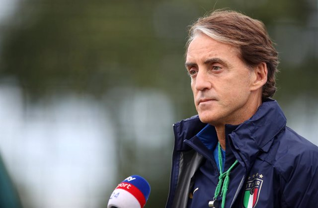 10 July 2021, United Kingdom, London: Italy manager Roberto Mancini talks to the media before a training session at Tottenham Hotspur training ground, ahead of the UEFAEURO2020 final soccer match against England. Photo: Nick Potts/PA Wire/dpa