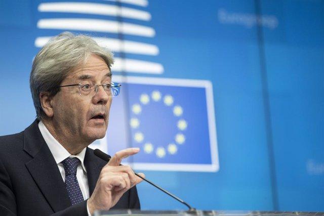 Archivo - El comisario de Economía de la UE, Paolo Gentiloni