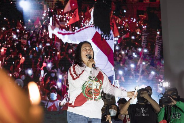 26 June 2021, Peru, Lima: Right-wing populist presidential candidate Keiko Fujimori delivers a speech to her supporters. Photo: Adrian Portugal/dpa