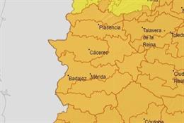 Archivo - Avisos naranja por calor en toda Extremadura este domingo.