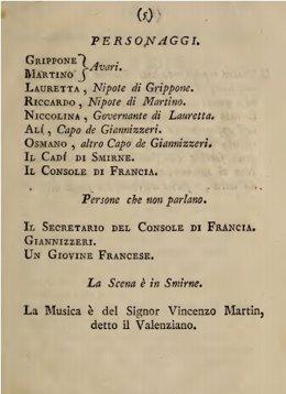 Página del libreto de 'Li due avari', de Martñin y Soler, que se conserva en la Biblioteca de la Universidad de Toronto.