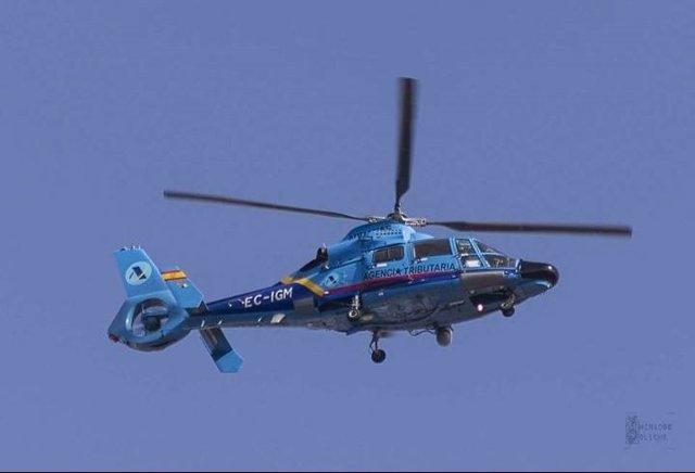 Helicóptero del Servicio de Vigilancia Aduanera, del Ministerio de Hacienda