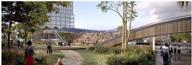 Imatge dels projectes de les obres de l'estació de la Sagrera
