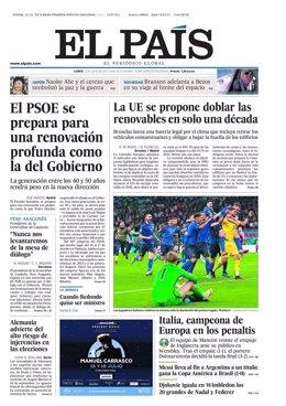Portada de El País para el 12 de julio.
