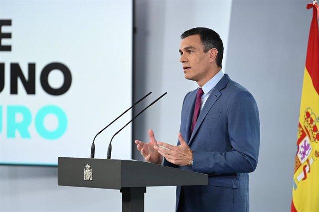 El presidente del Gobierno, Pedro Sánchez, en el Complejo de la Moncloa.