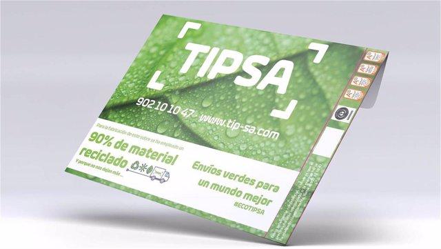 Sobres verdes de Tipsa, realizados en un 90% con material reciclado