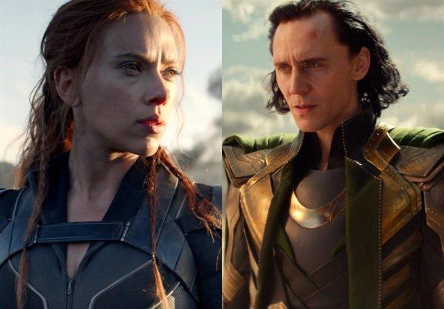 Scarlett Johansson y Tom Hiddleston como Viuda Negra y Loki