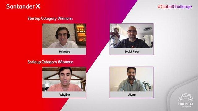 Ganadores del Santander X Global Challenge | Helping Businesses Prosper, del Banco Santander, a través de Santander X, y Oxentia Foundation