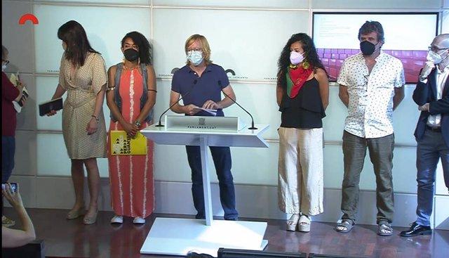 Roda de premsa de la delegació catalana que ha visitat Colòmbia