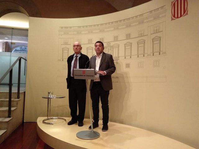 Archivo - El síndic de Greuges, Rafael Ribó, i el president de l'Institut de Drets Humans de Catalunya (IDHC), David Bondia