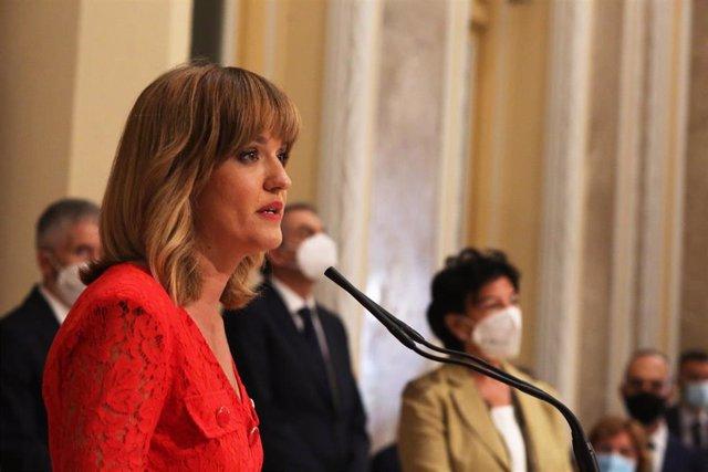 La nueva ministra de Educación y Formación Profesional, Pilar Alegría, interviene en el traspaso de carteras, en la sede del MEFP, a 12 de julio de 2021, en Madrid (España). El traspaso de carteras se efectúa después de que la nueva ministra haya prometid