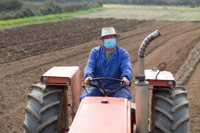 Archivo - Agricultor con su tractor en el campo