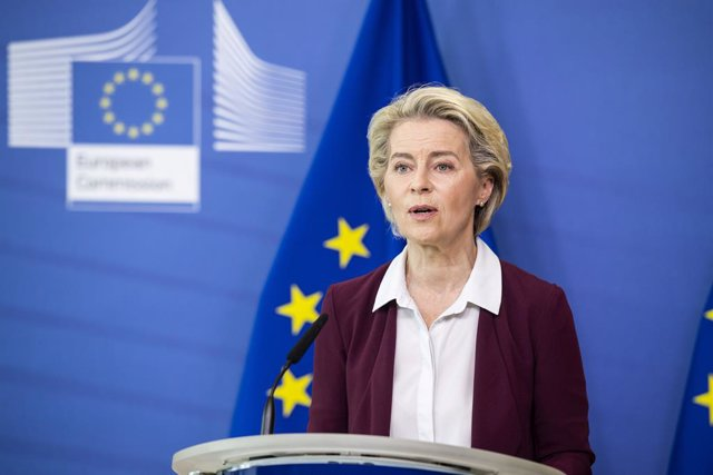HANDOUT - 10 July 2021, Belgium, Brussels: President of the European Commission, Ursula von der Leyen speaks during a virtual press conference at Berlaymont, the EU Commissions headquarters in Brussels. Photo: Lukasz Kobus/EU Commision /dpa - ATTENTION: e