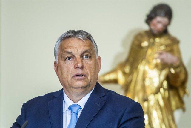 09 July 2021, Slovenia, Ljubljana: Hungarian Prime Minister Viktor Orban speaks during a press conference after the V4 + Slovenia Prime Ministers' meeting in Ljubljana. Photo: Jaroslav Nov·k/TASR/dpa