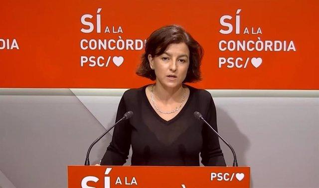 Eva Granados (PSC) en rueda de prensa telemática en la sede del PSC.