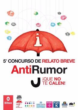 """Cartel del V Concurso de Relato Breve AntiRumor """"¡Que no te calen!""""."""