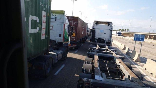 Archivo - Colas de camiones para acceder al puerto de València (imagen de archivo)