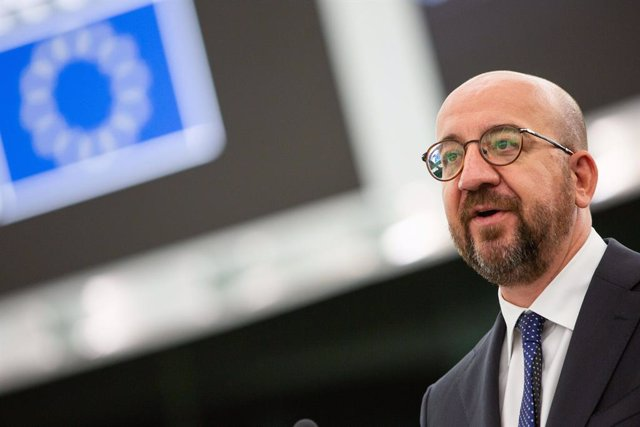 HANDOUT - 07 July 2021, France, Strasbourg: President of the European Council Charles Michel delivers a speech during a plenary session of the European Parliament on the conclusions of the European Council meeting of 24-25 June 2021. Photo: Mathieu Cugnot