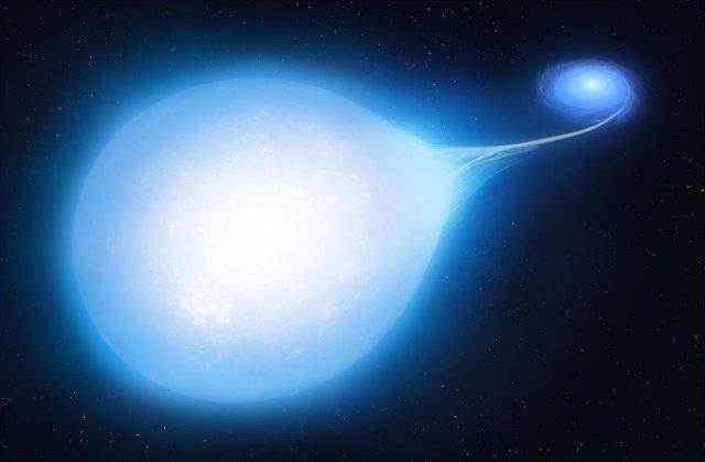 """Archivo - Impresión artística del sistema HD265435 en unos 30 millones de años a partir de ahora, con la enana blanca más pequeña distorsionando la subenana caliente en una forma distinta de """"lágrima"""""""