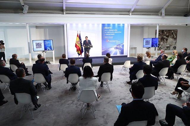 Pedro Sánchez durante la presentación del proyecto.