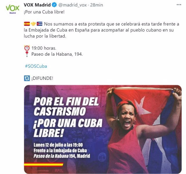 Captura del tweet de Vox Madrid en apoyo a las concentraciones que respaldan las protestas en Cuba