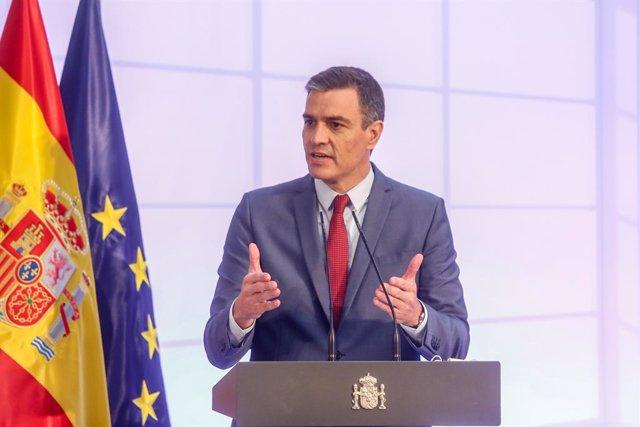 Pedro Sánchez interviene en la presentación en Moncloa del Proyecto Estratégico para la Recuperación y Transformación Económica (PERTE) del sector de la Automoción.