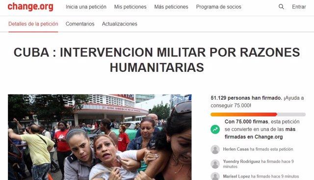 Petición a favor de una intervención militar estadounidense en Cuba