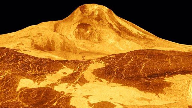 Archivo - Maat Mons, un gran volcán en Venus, se muestra en esta imagen de radar de color simulado de 1991 de la misión de la nave espacial Magellan de la NASA