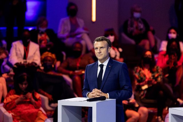 30 June 2021, France, Paris: French President Emmanuel Macron attends the opening session of the Generation Equality Forum, a global gathering for gender equality convened by UN Women and co-hosted by the governments of Mexico and France in partnership wi
