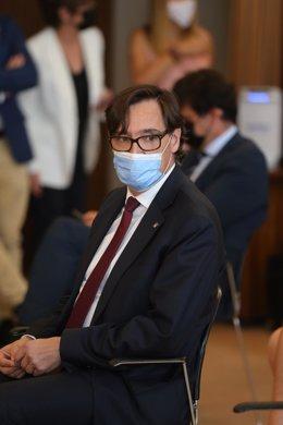 El exministro de Sanidad y líder del PSC, Salvador Illa, en el acto de traspaso de carteras en la sede ministerial, a 12 de julio de 2021, en Madrid (España).