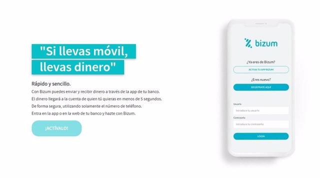 Archivo - Bizum, la solución de pago móvil de la banca española. Imagen obtenida de su página web.