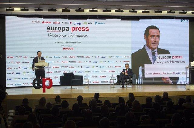 El presidente de la CEOE, Antonio Garamendi, en los Desayunos Informativos de Europa Press