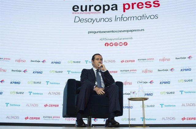 El president de la CEOE, Antonio Garamendi, en els Esmorzars Informatius d'Europa Press