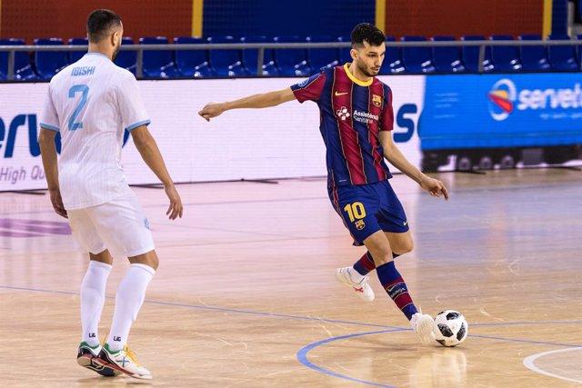"Archivo - ""Leandro Rodrigues """"Esquerdinha""""  of Fc Barcelona"" during the UEFA FUTSAL Champions League, round of 1/16th, match between Fc Barcelona Futsal and FC Prishtina at Palau Blaugrana on January 15, 2021 in Barcelona, Spain."