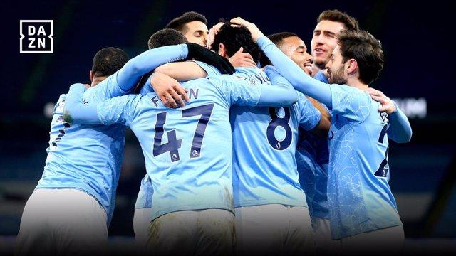 Celebración del Manchester City en un partido de la Premier League emitido por DAZN