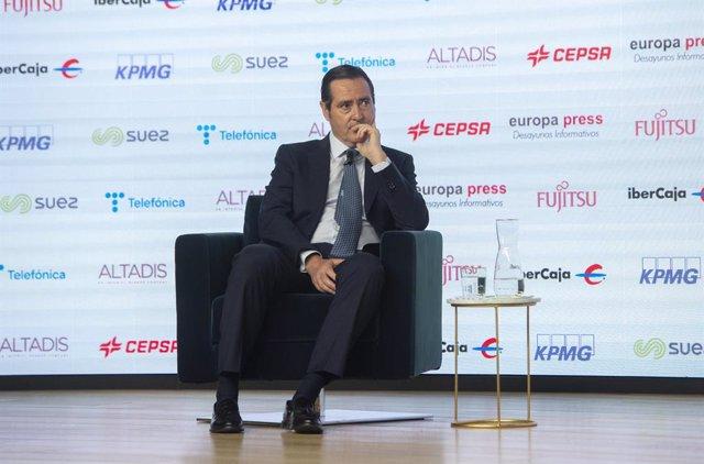 El president de la CEOE, Antonio Garamendi, participa en els Esmorzars Informatius d'Europa Press
