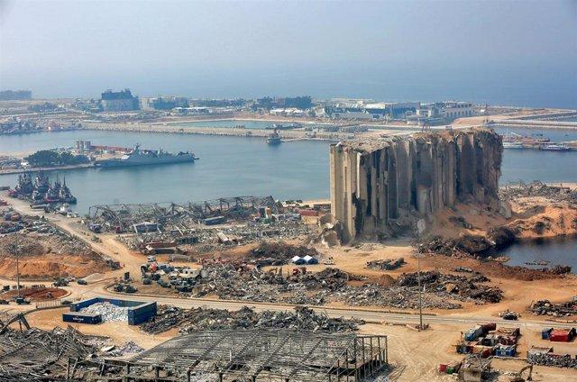 Archivo - Daños materiales por las explosiones registradas en agosto de 2020 en el puerto de la capital de Líbano, Beirut