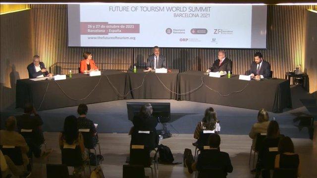 Presentación de la Cumbre Mundial del Turismo 'Future of Tourism World Summit' este martes en Barcelona.
